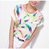 Free Ostrich  Print Tees Short Sleeve T-shirt Women t shirt Summer Cotton t-shirt Women Tops Causal t-shirts C1340
