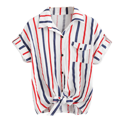 Free Ostrich 2019 New Women Fashion Sexy Casual White Blue S M L XL Short Sleeve Striped Shirt Top Blouse C2035