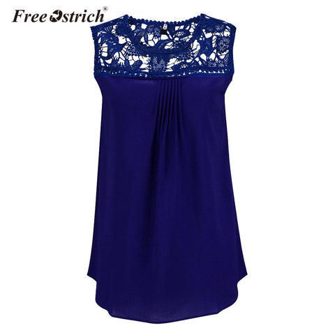 Free Ostrich Blusas Femininas 2019 Summer Lace Women Chiffon Blouse O Neck Solid Color Fashion Sleeveless Shirts Tops B0240