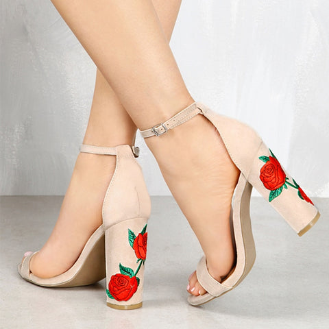 Women Pumps Plus Size 43 High Heels Women Shoes With Embroider Thick Heels Sandals Summer Shoes Female Peep Toe Wedding Shoes