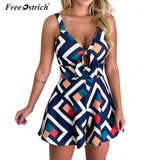 Free Ostrich Women Jumpsuit Playsuits Elegant V Neck Backless Short Jumpsuit Rompers Summer Sleeveless Bow Playsuits N30