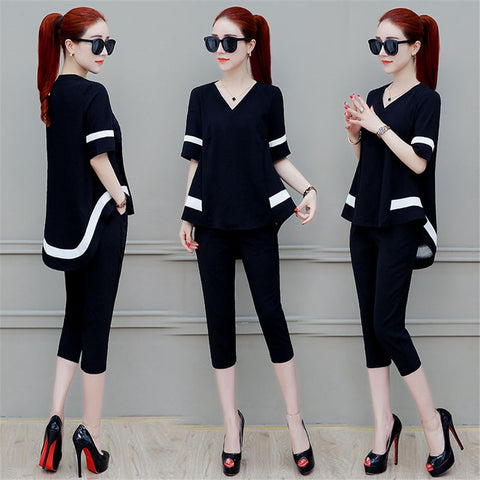 2019 Summer Fashion Women's Sets Casual Short Sleeves o- neck Shirts + short Two Pieces Set Female Suits