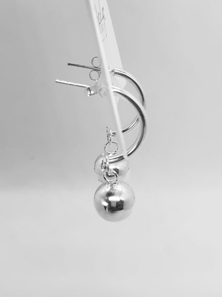 Sterling silver hoop and ball