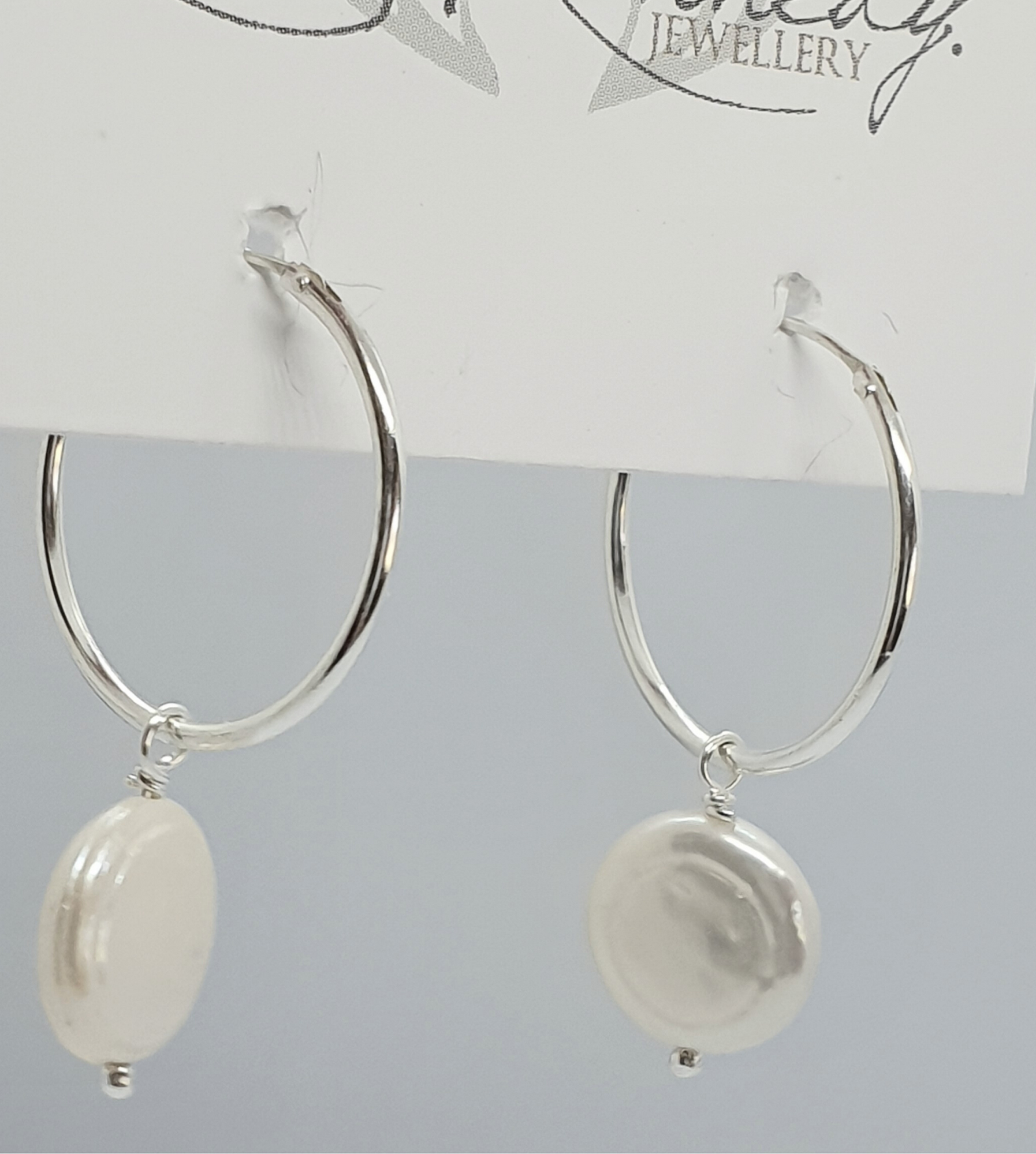 Silver Hoops and Pearls