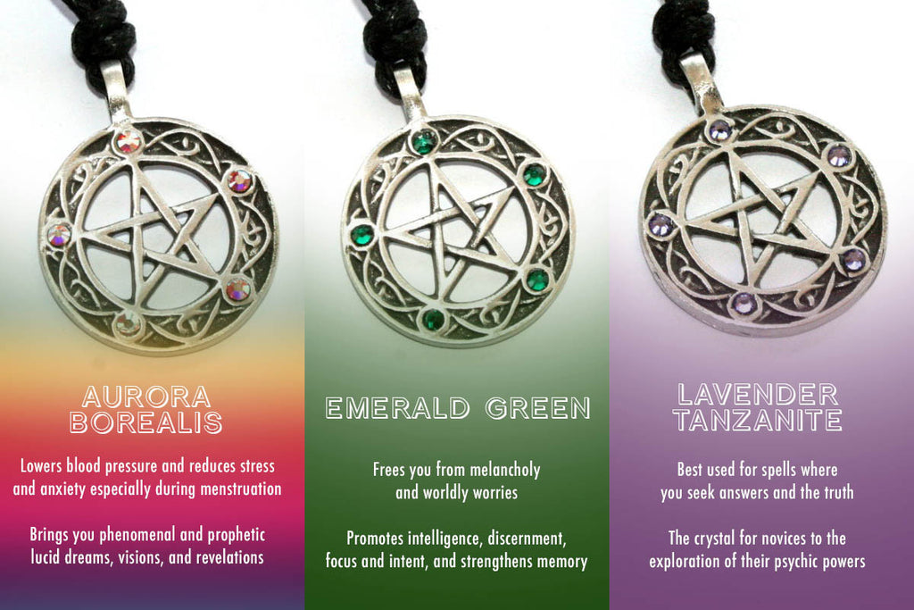 What each pentacle of the witch pendant can help you with wicca daily pentacle of the witch necklace with ruby red stones aloadofball Image collections
