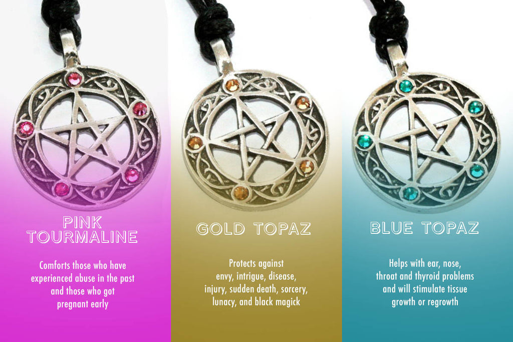 What each pentacle of the witch pendant can help you with wicca daily pentacle of the witch necklace with black onyx stones aloadofball Image collections