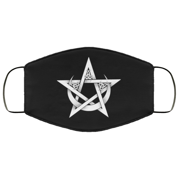 Pentacle in Crescent Moon Face Mask