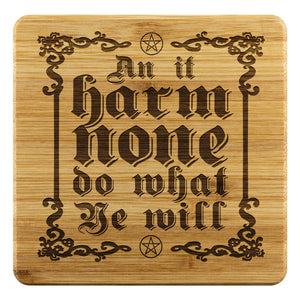 An It Harm None Bamboo Coaster - The Moonlight Shop