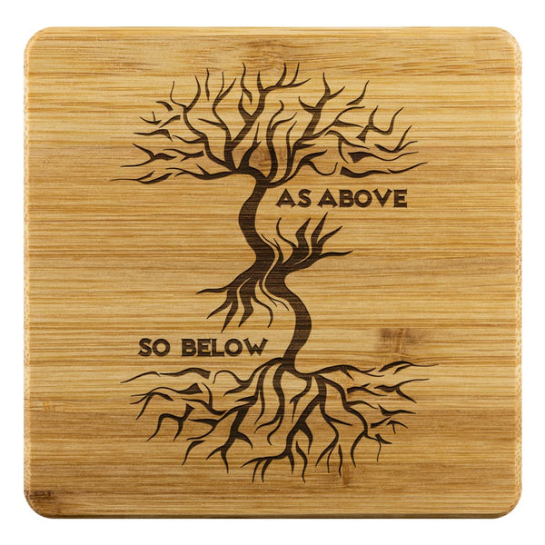 As Above So Below Bamboo Coaster - The Moonlight Shop