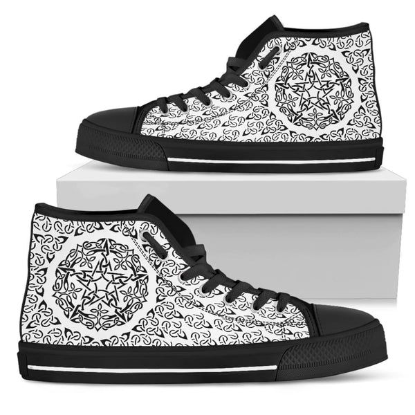 Black and White Celtic Pentacle Womens High Top Shoes - The Moonlight Shop