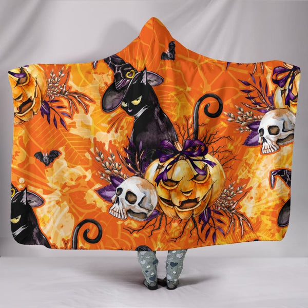 Black Cat Samhain Hoodie Blanket - The Moonlight Shop