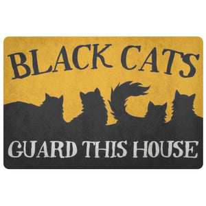 Black Cats Guard This House Doormat - The Moonlight Shop