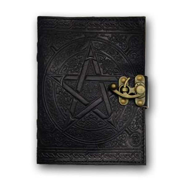 Black Pentacle Leather Book Of Shadows - The Moonlight Shop