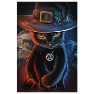Cat With The Hat Canvas Wall Art - The Moonlight Shop