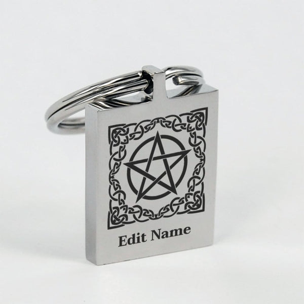 Celtic Pentacle Keychain (Edit Your Name) - The Moonlight Shop