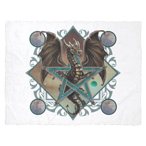 Dragon In Pentacle Fleece Blanket - The Moonlight Shop