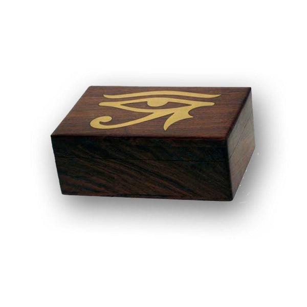 Eye Of Horus Brass Inlaid Wooden Box - The Moonlight Shop