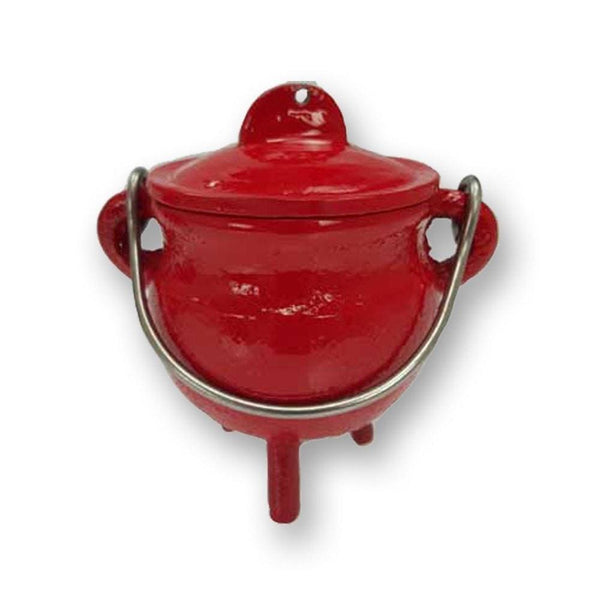 Fiery Red Cast Iron Cauldron - The Moonlight Shop