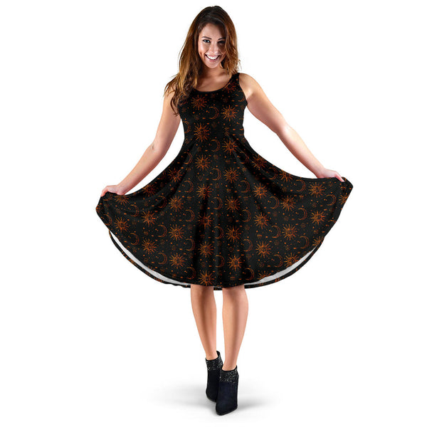 Magickal Moon and Benevolent Sun Black Dress
