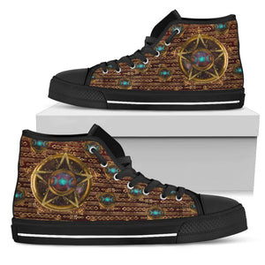 Golden Pentacle and Triple Goddess Womens High Top Shoes - The Moonlight Shop