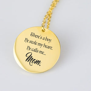 He Calls Me... Mom Engraved Necklace - The Moonlight Shop