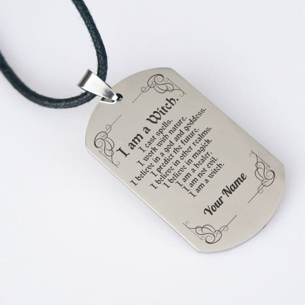 I Am A Witch Dog Tag (Customizable) - The Moonlight Shop