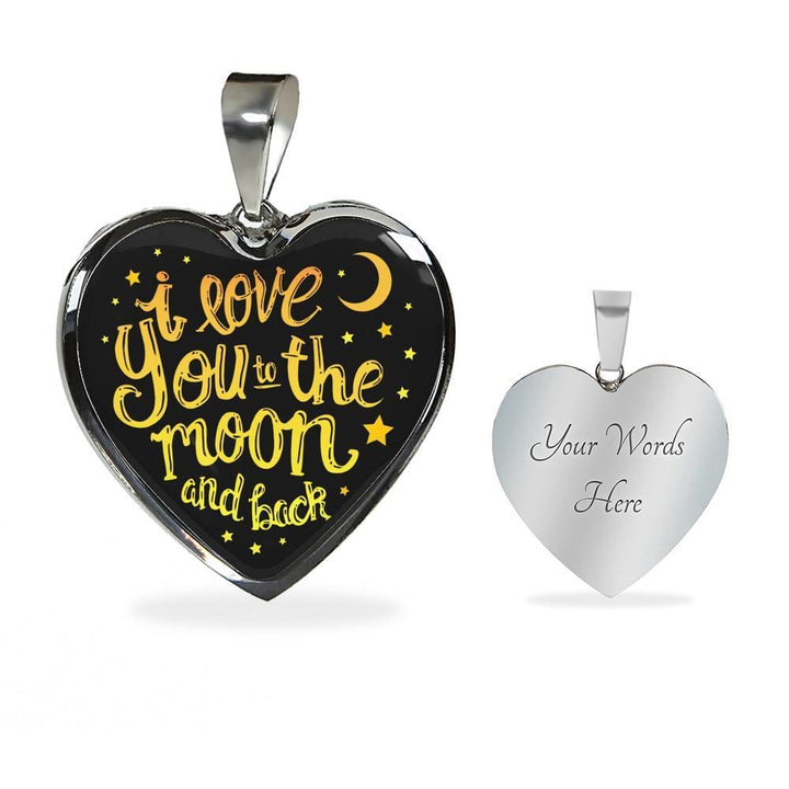 I Love You To The Moon And Back Luxury Heart Necklace - The Moonlight Shop