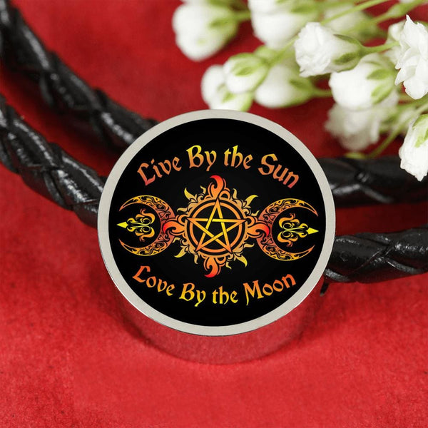 Live By The Sun Charm w. Leather Bracelet - The Moonlight Shop
