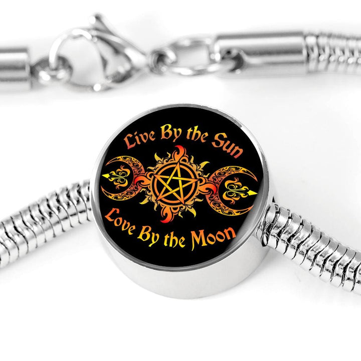 Live By The Sun Charm w. SS Bracelet - The Moonlight Shop