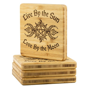 Live By The Sun Love By The Moon Bamboo Coaster - The Moonlight Shop