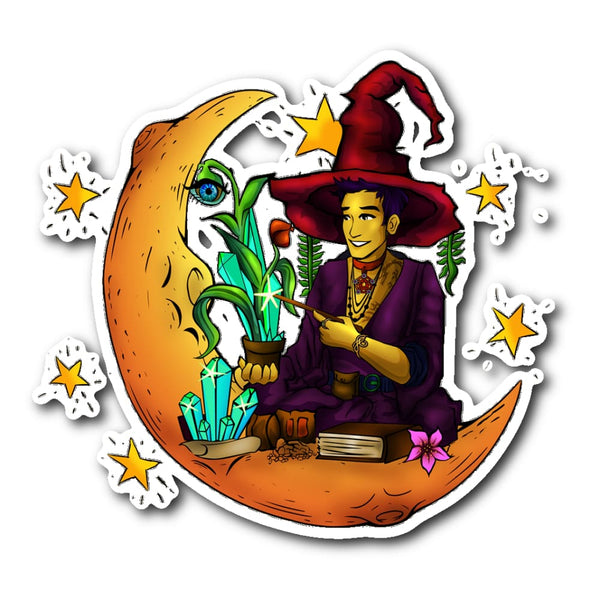 Male Witch Sticker - The Moonlight Shop
