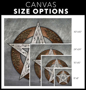 Metal Pentacle Canvas Wall Art - The Moonlight Shop