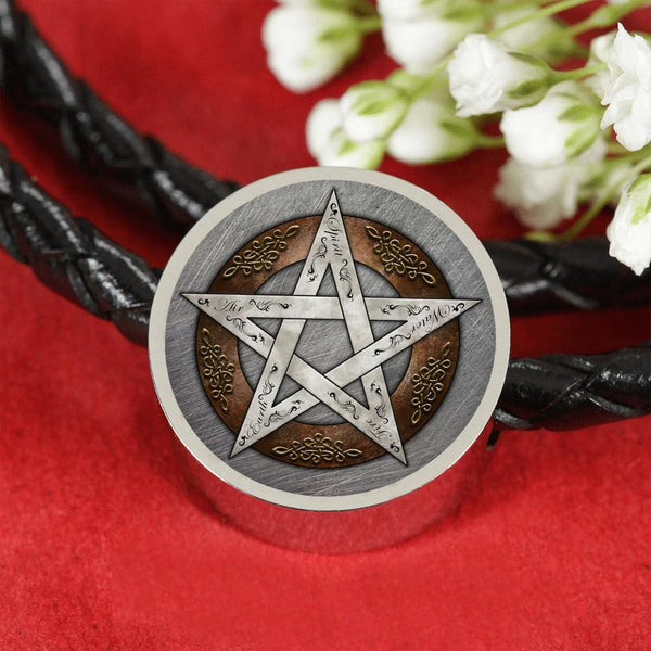 Metal Pentacle Charm w. Leather Bracelet - The Moonlight Shop
