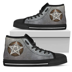 Metal Pentacle Mens High Top Shoes - The Moonlight Shop