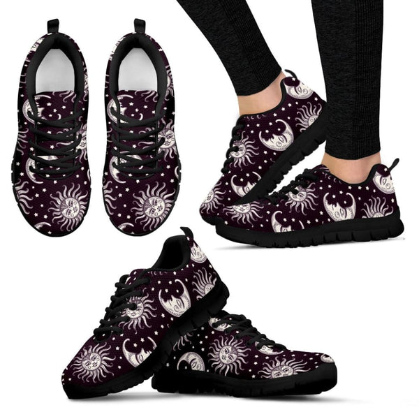 Moon and Sun Black Womens Sneakers - The Moonlight Shop