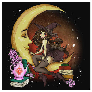 Moon Witch Canvas Wall Art - The Moonlight Shop