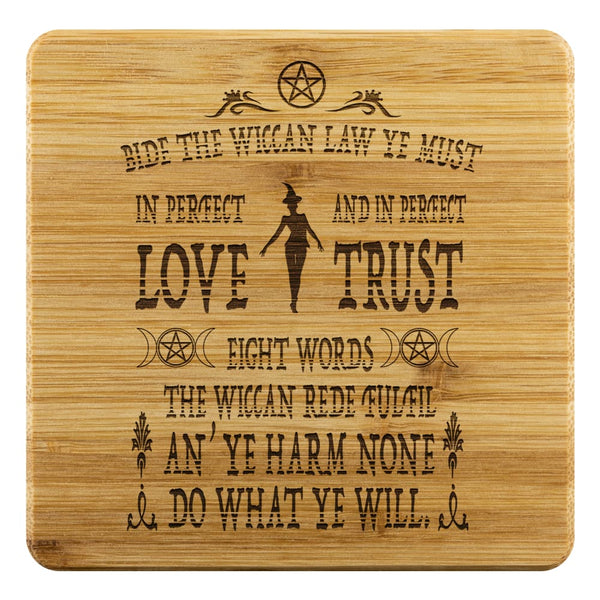 Old Wiccan Rede Bamboo Coaster - The Moonlight Shop