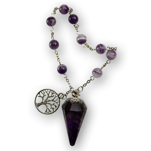 Pendulum With Amethyst Crystal And Tree Of Life Charm Bracelet - The Moonlight Shop