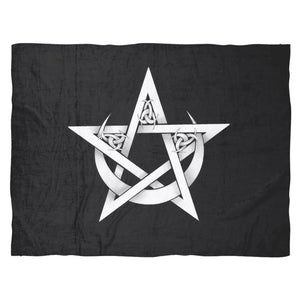 Pentacle And Crescent Moon Fleece Blanket - The Moonlight Shop