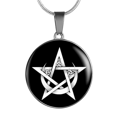 Pentacle And Crescent Moon Luxury Necklace