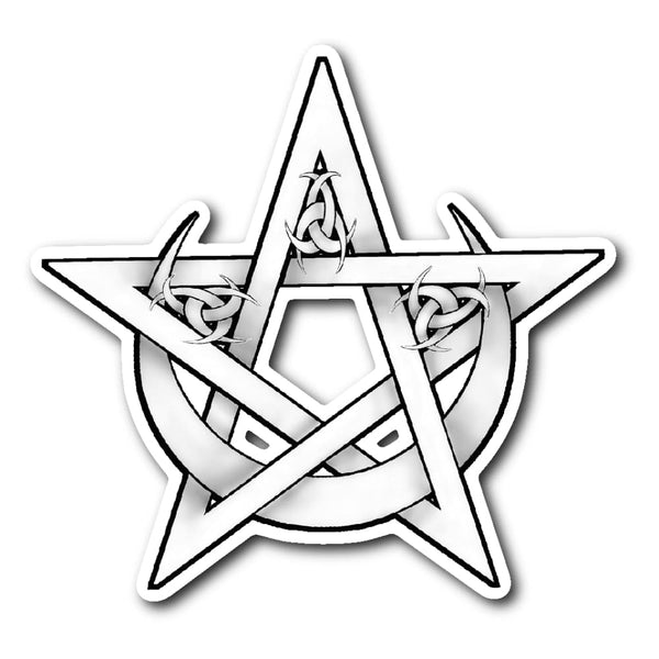Pentacle And Crescent Moon Sticker - The Moonlight Shop