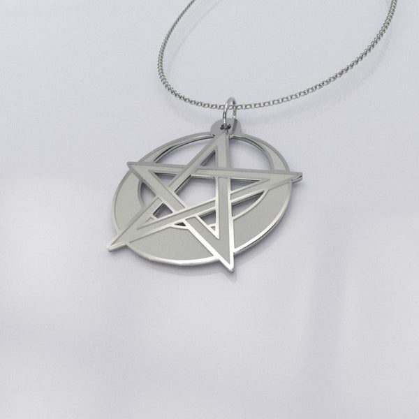 Pentacle And Moon Silver Necklace - The Moonlight Shop