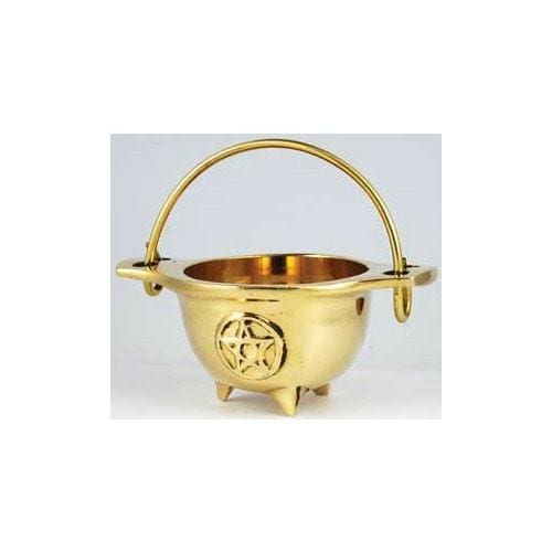 Pentacle Brass Cauldron - The Moonlight Shop