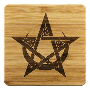 Pentacle In Crescent Moon Bamboo Coaster - The Moonlight Shop