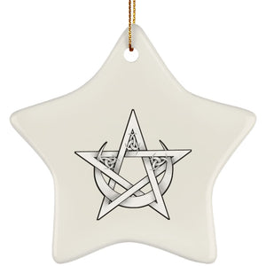 Pentacle In Crescent Moon Ornament - The Moonlight Shop