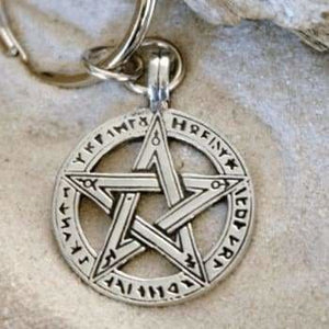 Pentacle Keychain With Runes - Special Upgrade Offer - The Moonlight Shop