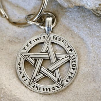 Pentacle Keychain With Runes