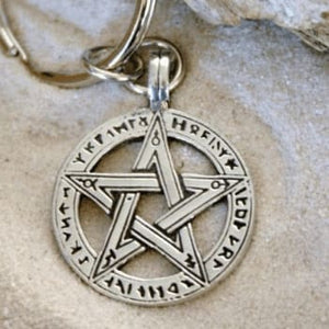 Pentacle Keychain With Runes - The Moonlight Shop