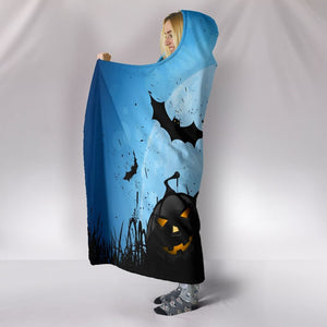 Pumpkins & Bats Halloween Plush Lined Hooded Blanket - The Moonlight Shop