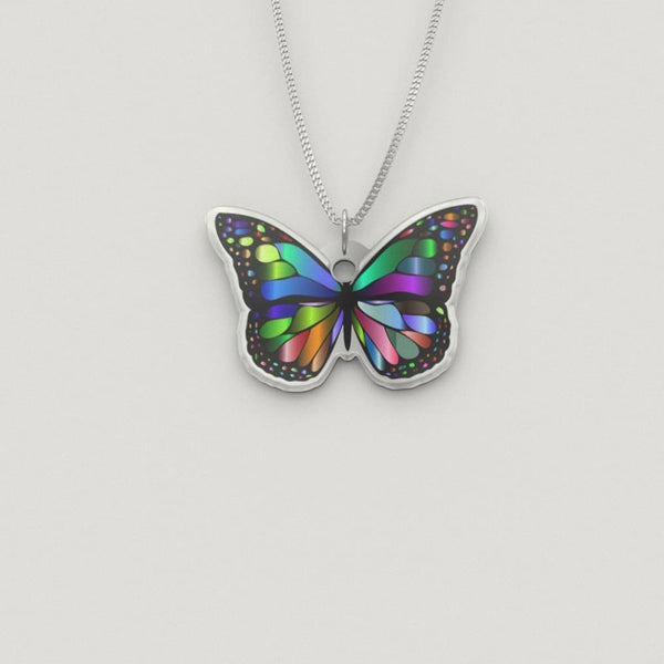 Rainbow Butterfly Luxury Charm Necklace - The Moonlight Shop